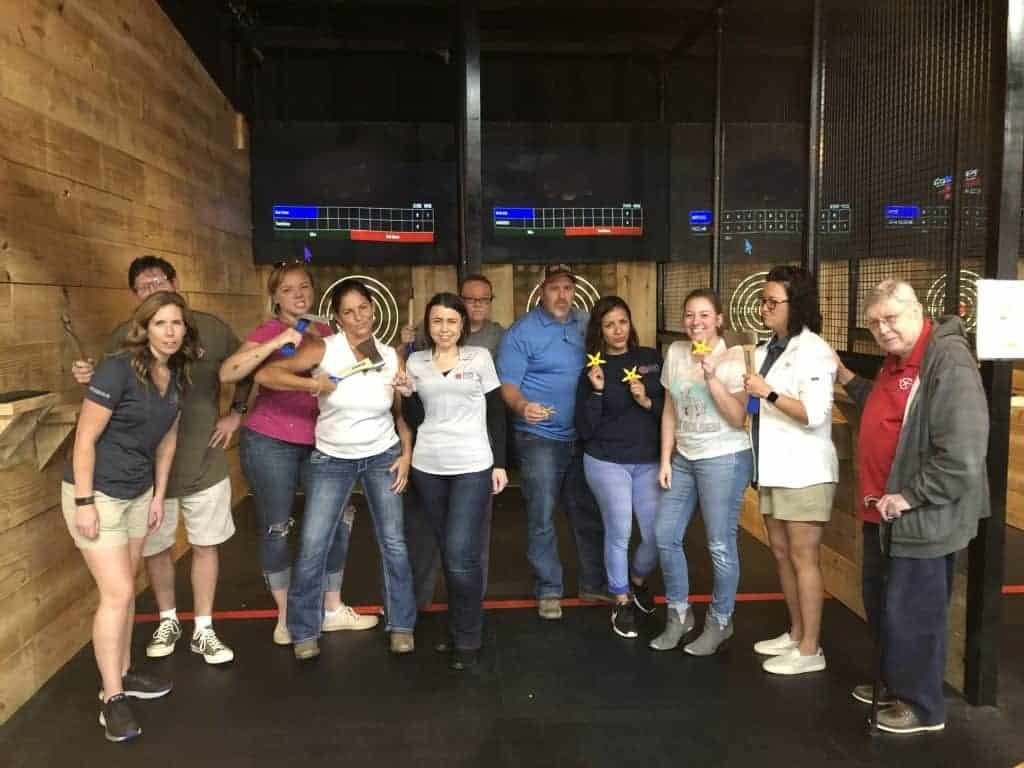 corporate team building axe throwing event in Searcy